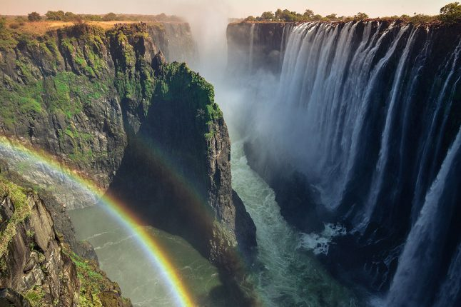 Rainbow Centered Over Falls