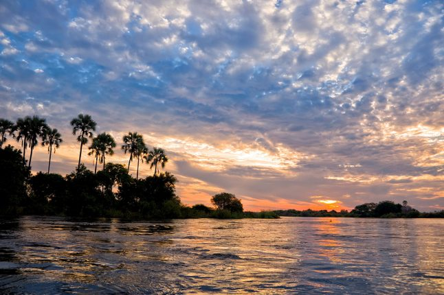 Zambezi River at Sunset, Zambia, Africa
