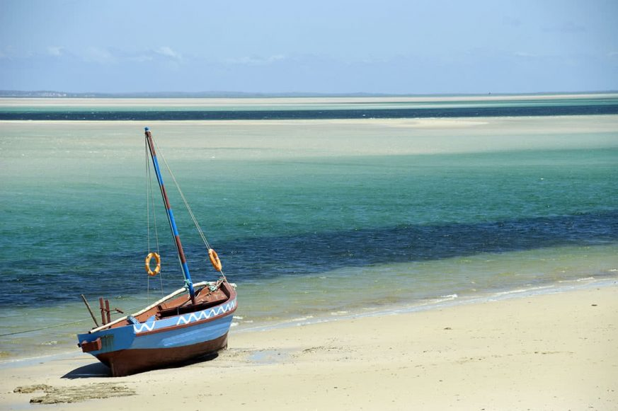 Sailboat on Beach in Mozambique