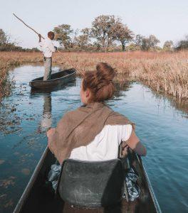 Brooke Saward in mokoro canoe Botswana